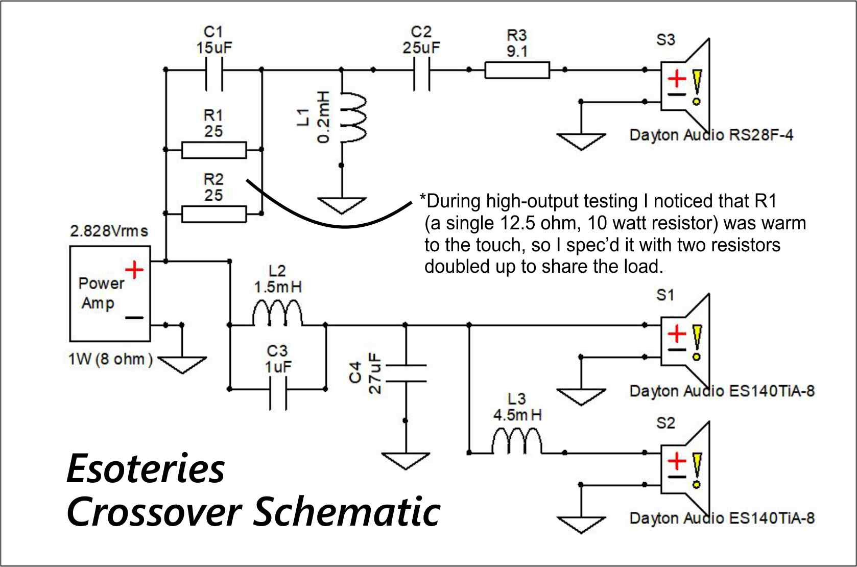 crossover schematic | Parts Express Project Gallery