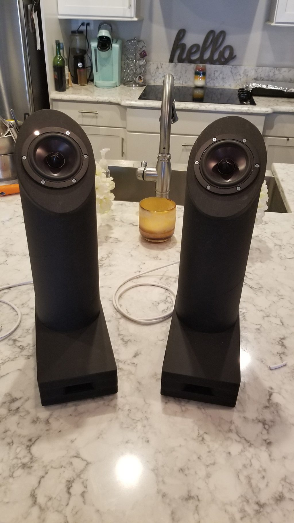 """""""Robot Boots"""" – Office Speakers for Stand up Desktop"""